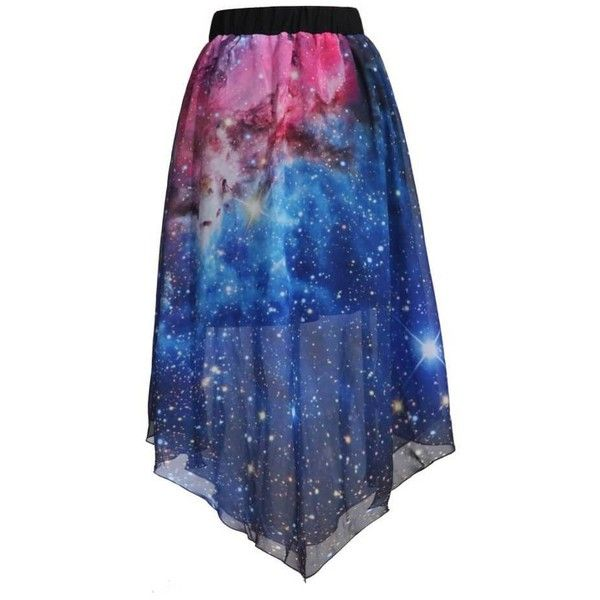 Pleated Chiffon Galaxy Cosmic Digital Printed Skirts ($35) ❤ liked on Polyvore featuring skirts, blue pleated skirt, galaxy skirt, chiffon skirts, galaxy print skirt and chiffon knee length skirt