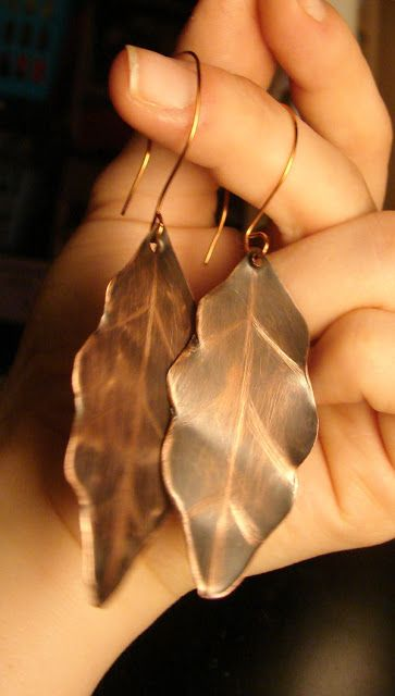 Copper leaf earring