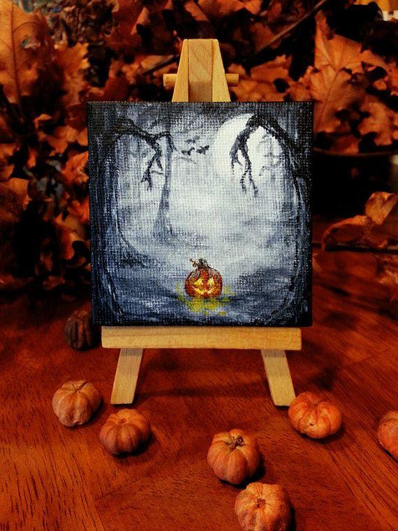 Halloween Decoration Pumpkin Spooky Jack O Lantern Acrylic Painting Canvas Easel Original Forest Black Night Skies Miniature Canvas 3 x 3
