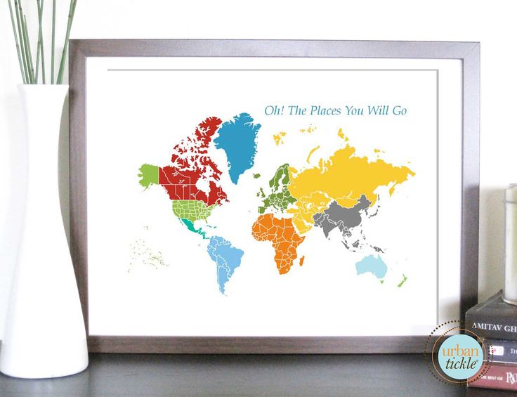 World Map Art for Kids, Print  for Nursery -World and Places -11X14 Inches, Birthday Gift, Baby Gift. $24.00, via Etsy.