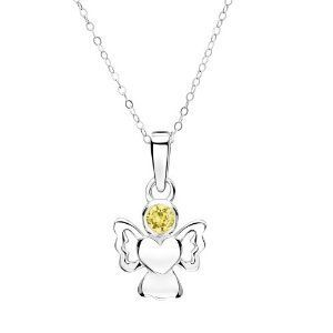 Jo For Girls 925 Silver November Simulated Birthstone Angel Pendant Necklace 14""
