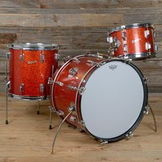 Rogers Holiday 12/14/20 3pc Drum Kit Red Sparkle 1960s USED