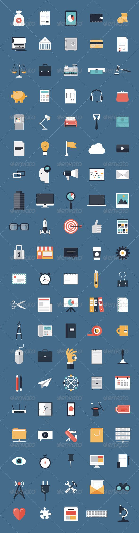 Business and Finance Flat Icons Big Set | Buy and Download…