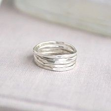 Set of 5  Sterling Silver Stacking Rings