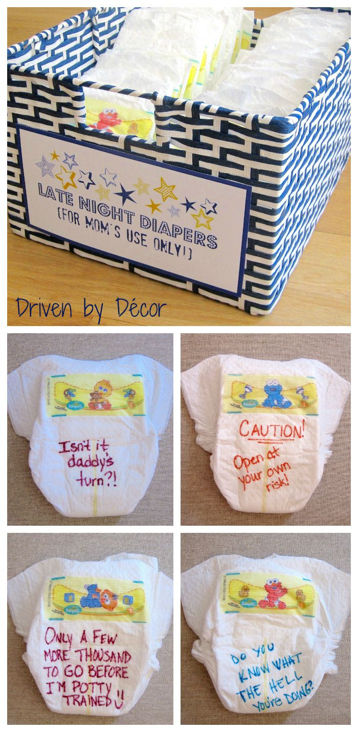"For ""Late Night Diapers"", the shower guests were each given a few diapers and some Sharpies and were asked to write a message to the new mom on the front and/or back of the diapers. These diapers are to be reserved for late night changings by mom so the point is to write something funny or encouraging to give her a little pick-me-up in the wee hours of the night!"