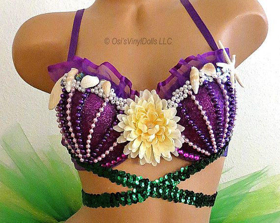 Ariel Little Mermaid inspired Rave Bra ~  Purple bra featuring Purple glitter…
