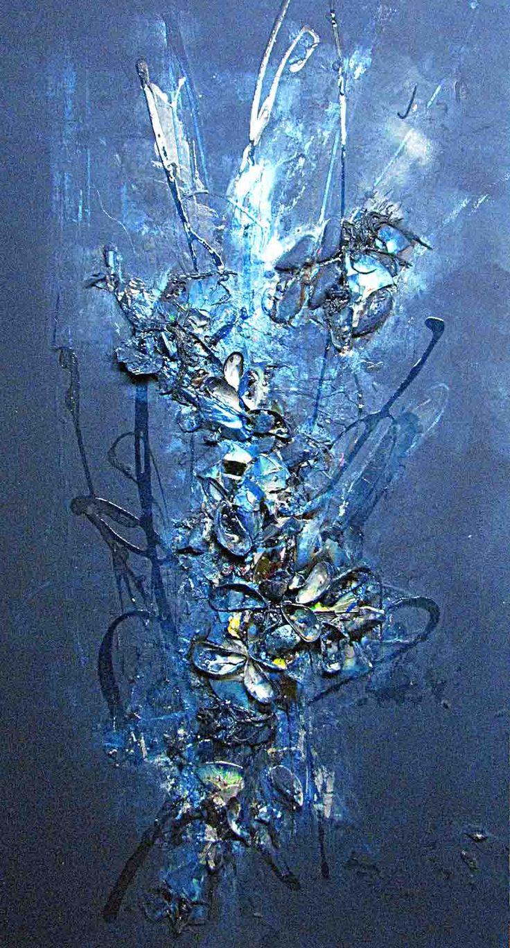 Feeling November Blue, 11/2014  JENNI EMILIA  Mussels, furniture polish, cd discs, varnish, acrylic in Mdf 60 x 122cm