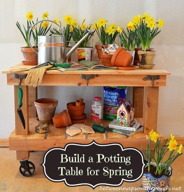 Pottery Barn Abbott Inspired Potting Table & Buffet Server 25