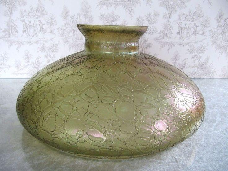 Antique Art Deco RARE XL Loetz Iridescent Green Art Glass Hanging Oil Lamp Shade
