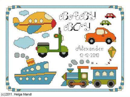 Baby Boy Birth Sampler PDF cross stitch charts Helga Mandl www.bonanza.com