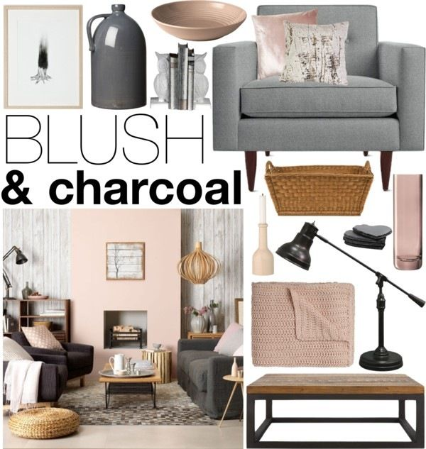 Gray And Teal Living Room By Jurzychic On Polyvore: Blush & Charcoal - Soggiorno -camino