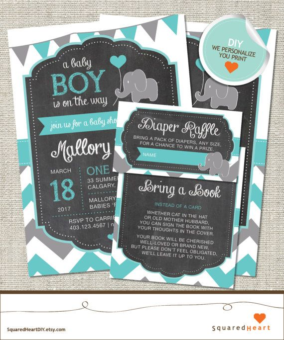 This fun and stylish DIY elephant invitation set with chalkboard, flags and chevron is perfect for your next baby shower and is sure to delight the mother-to-be / guests.  Please note that this listing is for a printable PDF file that will be emailed to you, no printed or physical items will be shipped to you.  For PRINTED Invitations (visit our PRINTED shop) https://www.etsy.com/ca/listing/481976423/elephant-baby-shower-invitation-elephant  For DIY Matching...