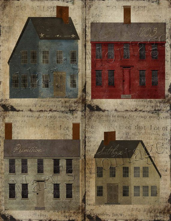 Primitive Saltbox Houses Art sheet Instant download