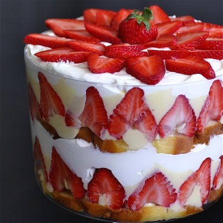 Strawberry Memorial Day Desert Trifle. I use pudding not jello, add a few blue berries for color.
