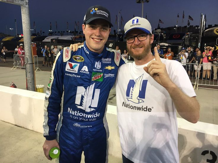 Alex Bowman stands wit Dale Jr after winning the pole for the race at Phoenix!
