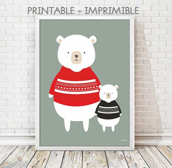 laminas animales infantiles, animales infantiles, lamina oso, poster oso, laminas imprimibles, cuadros infantiles, oso infantil