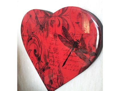 Resin Finished Heart - red dragonfly
