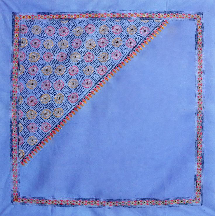 Blue Head Scarf with Kantha Stitch (Cotton Cloth)