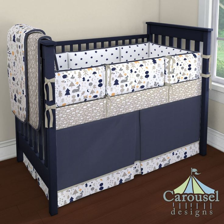 Crib Bedding In Solid Taupe, Solid Navy, Taupe And Windsor Navy Baby  Woodland, Part 55