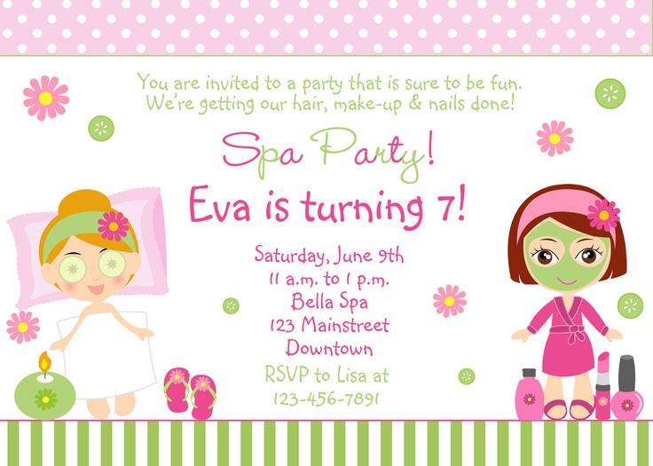 Spa Birthday Party Invitation -- printable invitation - spa girls --  you print or I print. $12.00, via Etsy.