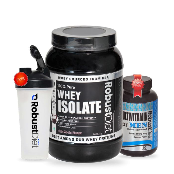 RobustDiet Whey Isolate in Café Mocha flavor is the purest, fast-digesting and complete form of micro-filtered whey protein isolate.