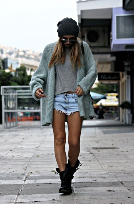 jean shorts + baggy sweater