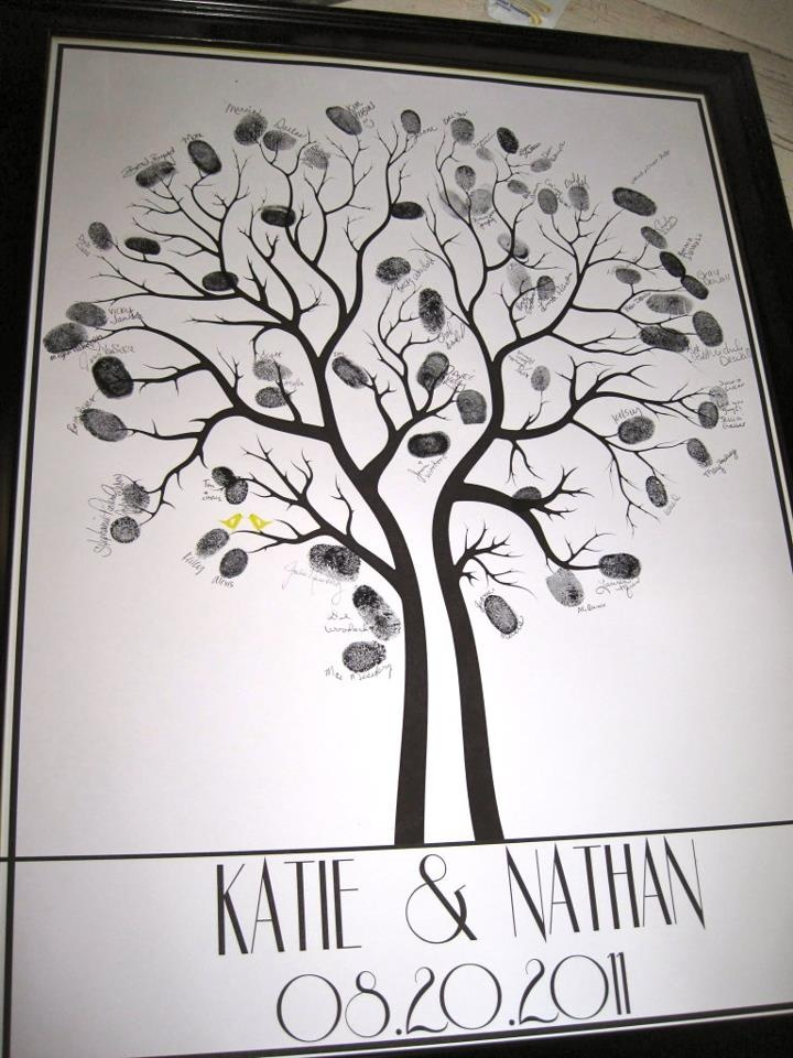 Guest book fingerprint tree... Aunt Julie and Cousin Leah..kind of a cool idea for your wedding!