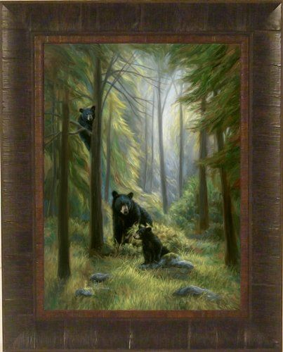Amazon.com - Spirits Of The Forest by Lucie Bilodeau 17x21 Black Bear and Cubs Art Print Wall Décor Framed Picture