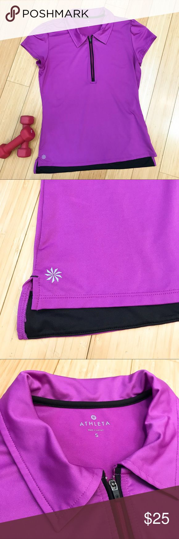 ATHLETA purple polo shirt, S. Perfect purple and black polo style short sleeve shirt by Athleta, size small. Quarter zip, collar. Bust measures 18 inches across unstretched, length about 24 inches. Perfect condition with no flaws. Would be excellent for golf or tennis. Athleta Tops Tees - Short Sleeve