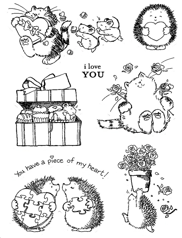 Hedgehog and Cat Valentines