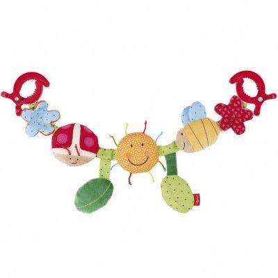 Cette chaîne pour poussette de la marque Sigikid est équipée de plusieurs activités pour divertir les tout petits pendant la promenade.