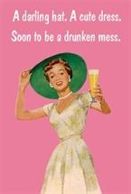 A darling hat. A cute dress. Soon to be a drunken mess.