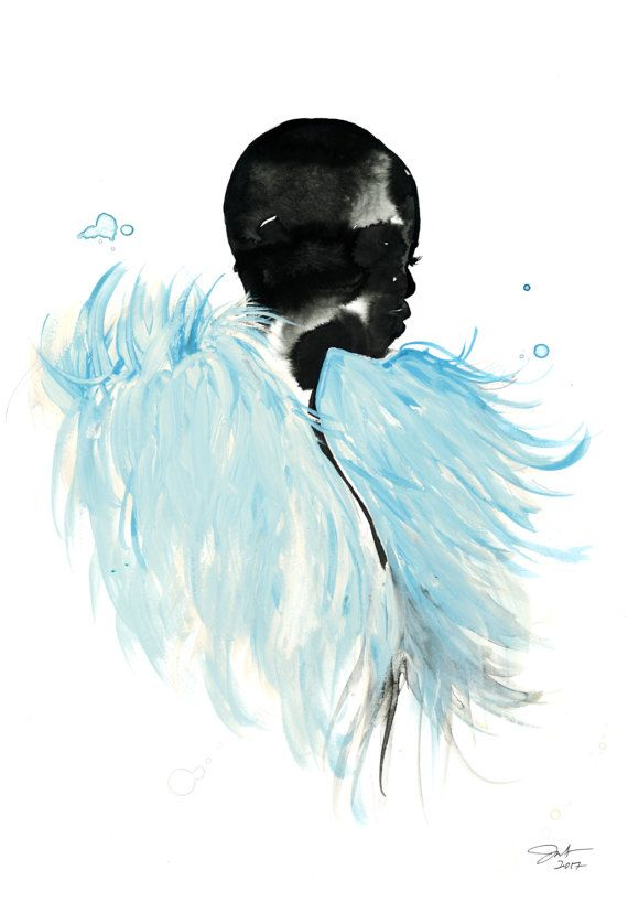 Print from original by jessicaillustration feathers print blue