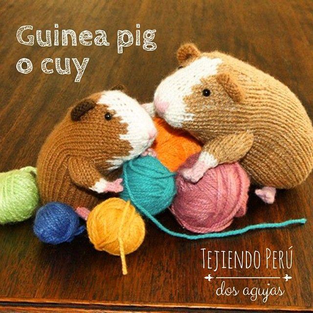 Travieso cuy o Guinea pig tejido en dos agujas o palitos.  Especial para sus niños :) El paso a paso ya está en nuestra web: tejiendoperu.com