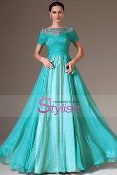 2014 Round Beaded Neckline Short Sleeve Prom Dress Ruched Bodice A Line Floor Length $ 159.99 STPZM6L9G4 - StylishPromDress.com