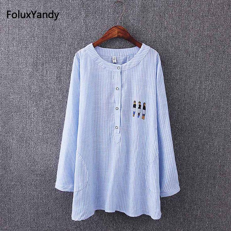 Blue/Pink Striped Long Sleeve Blouse Shirt Plus Size 3XL Casual Women Cotton Summer Blouse KK3368 #Affiliate