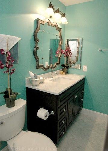 Turquoise Guest Bathroom - eclectic - bathroom - other metro - RJK Construction Inc