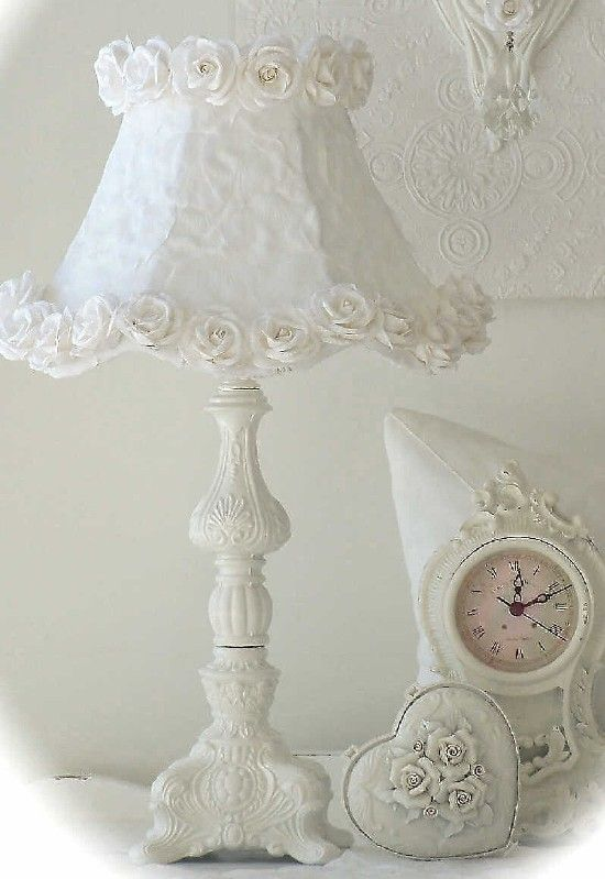 Vintage Style Romantic Lighting Collection Romantic Cottage Style Lamp White Rose Petal Shade-Vintage, Romantic, Shabby, Cottage, Chandelier, Lighting, Roses, Lamp,