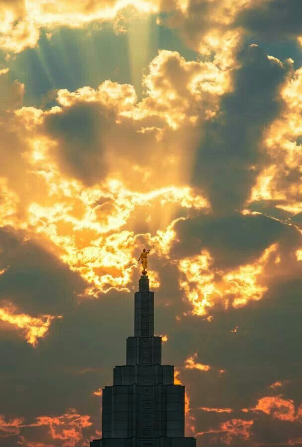 LDS Temple and sunset picture