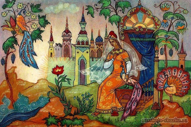 """""""Аленький цветочек"""", Аксаков С.Т. http://russkaja-skazka.ru/alenkiy-cvetochek/ Так и стала жить да поживать молодая дочь купецкая, красавица писаная. Всякий день ей готовы наряды новые, богатые, и убранства такие, что цены им нет, ни в сказке сказать, ни пером написать...  #сказки #АленькийЦветочек #картинки #art #Russia #Россия #добро #дети  #иллюстрации #paint #картины #художник #Палех #ЛаковаяМиниатюра #RussianLacquerArt  #RussianFairyTales @russkajaskazka"""