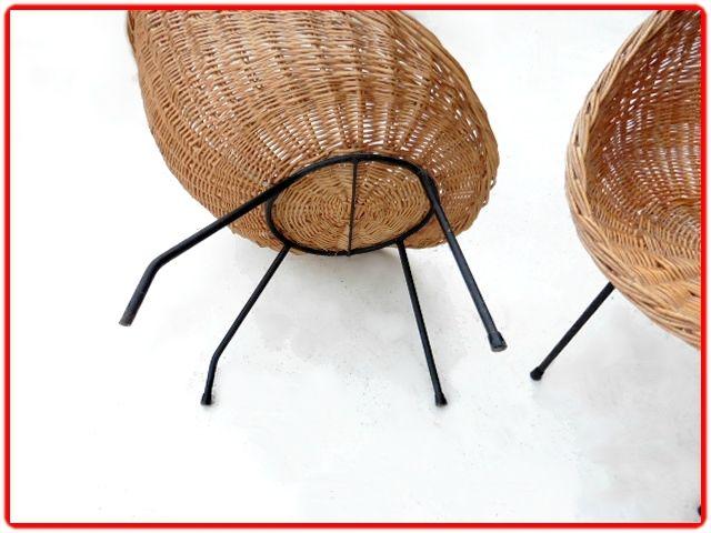 Fauteuils rotin vintage style m mategot meubles design vintage scandinave - Deco vintage scandinave ...