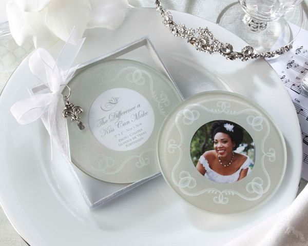 Great Gatsby Wedding Favors The Difference A Kiss Can Make Frosted Glass Photo CoastersGlass