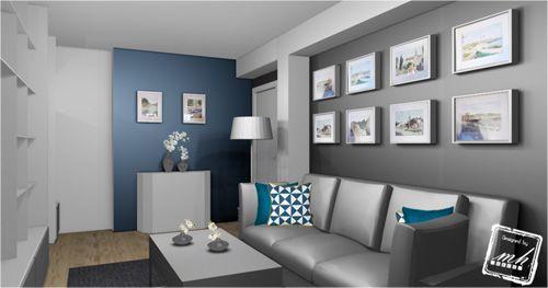 58 best peinture images on pinterest colors home decor and wallpapers for Peinture salon bleu vintage