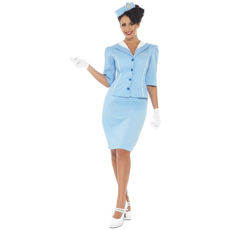 Retro Flight Attendant Costume Stewardess Air Hostess Halloween Fancy Dress #Smiffys