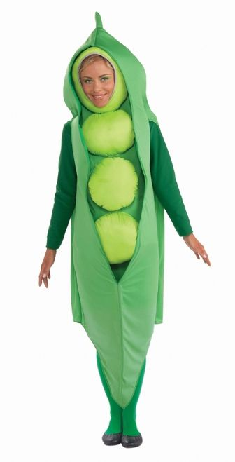 Adult Vegetable Peas in a Pod Costume - This is a great vegetable costume for adults. It's a peas in a pod costume that partners well with the carrot. The costume comes in two pieces. The first is The headpiece with attached vest front. It's a long piece of green material with a whole for the face and padded light green peas down the front. It ties behind the neck and has an elastic behind the head. #mens #vegetable #peas #yyc #funny #calgary #costume