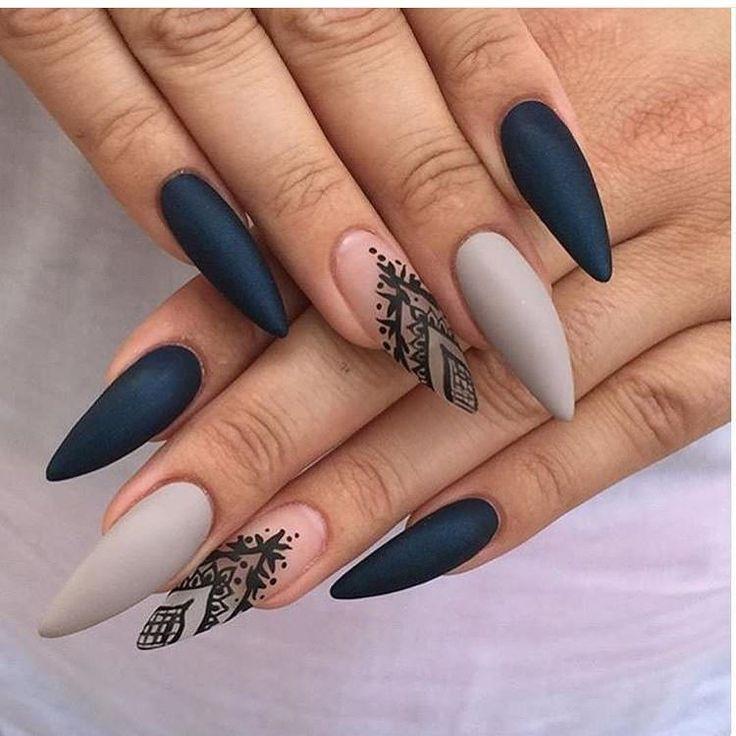 Черные ногти дизайн длинные