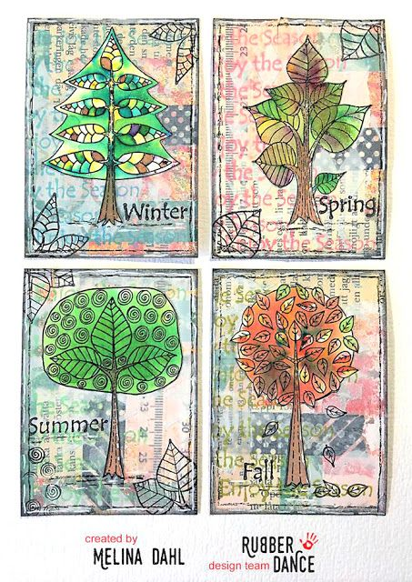 * Rubber Dance Blog *: Set of Artist Trading Cards with Trees Four Seasons