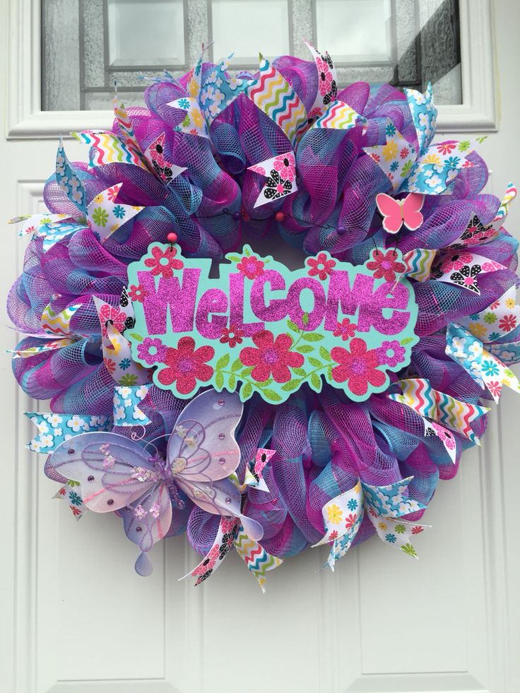 Summer Purple Pink Deco Mesh Wreath Summer Wreath Diy
