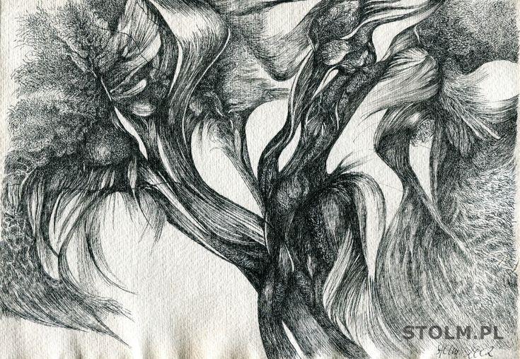Trees ink on paper black and white Stanisława Olszańska Marszałek abstraction art