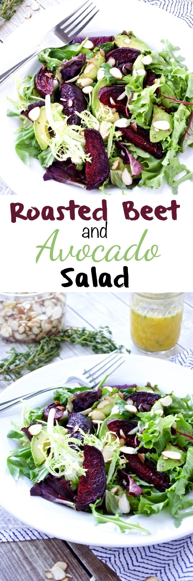 Roasted Beet and Avocado Salad makes a healthy and easy meal! It's gluten-free, dairy-free, vegetarian, and Paleo.
